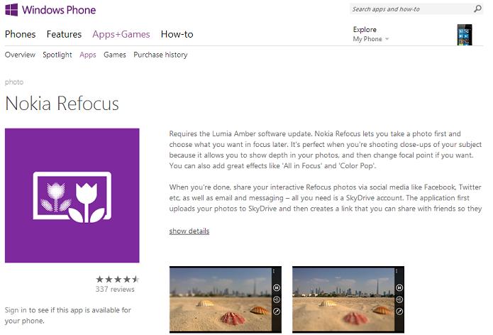 Refocus está disponível na Windows Store (Foto: Divulgação/Windows Phone)