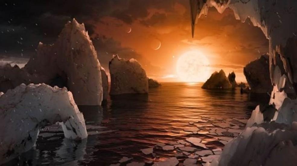Pesquisadores da Nasa já imaginam a paisagem que podem ter os novos planetas descobertos em zonas habitáveis de uma estrela | (Foto: NASA/JPL-Caltech)