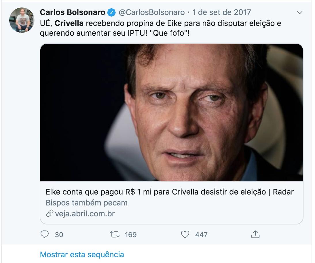 Postagem de Carlos Bolsonaro com críticas a Crivella