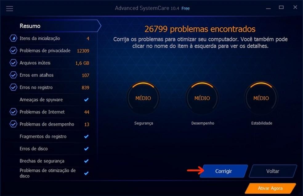 Problemas do computador identificados pelo Advanced SystemCare (Foto: Reprodução/Raquel Freire)