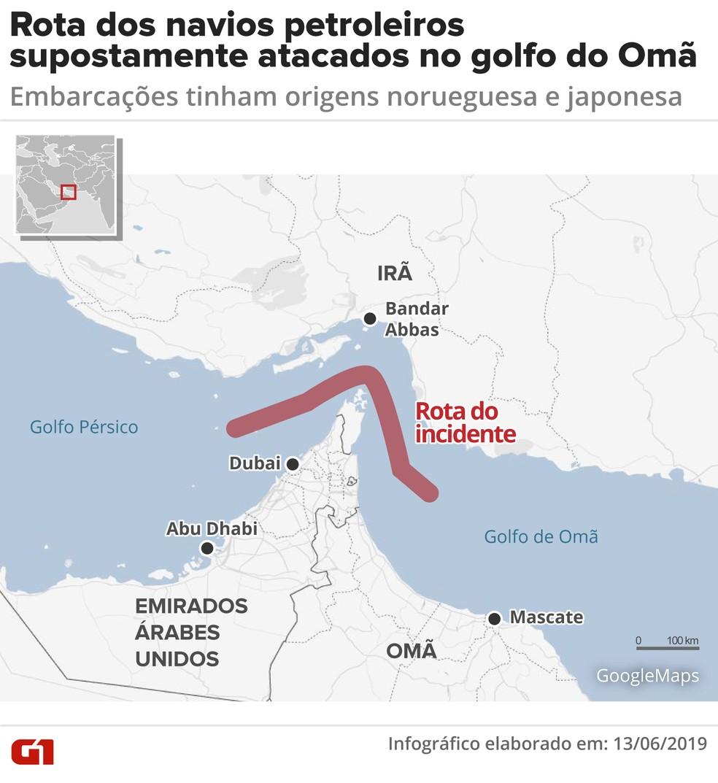 Rota dos navios que teriam sido atacados na última quinta-feira (13) no golfo do Omã. — Foto: Juliane Monteiro/G1