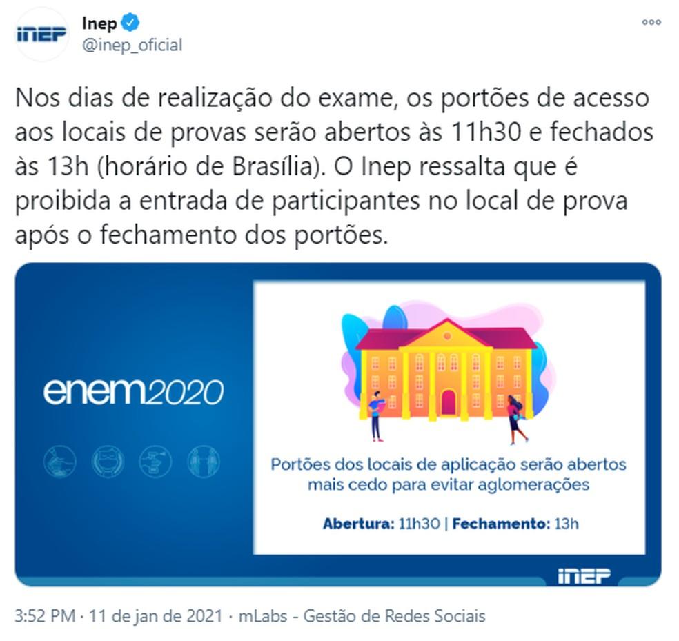 Enem 2020: portões serão abertos às 11h30 (horário de Brasília), mais cedo para antecipar aglomerações, segundo Inep. — Foto: Reprodução/@Inep_oficial