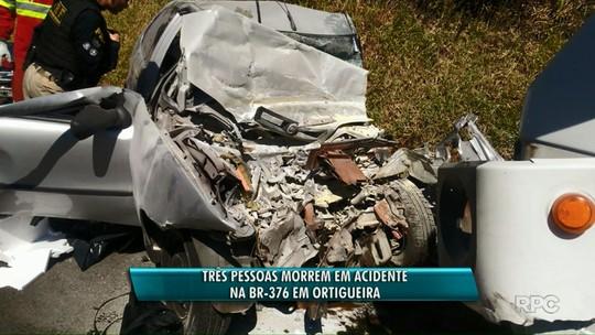 Acidente entre dois caminhões e um carro deixa três mortos na BR-376, em Ortigueira
