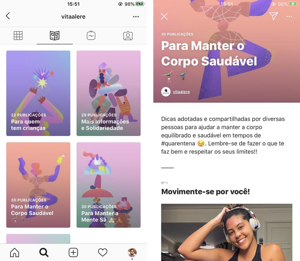 Nova seção de Guias já está disponível em perfil brasileiro — Foto: Reprodução/Instagram