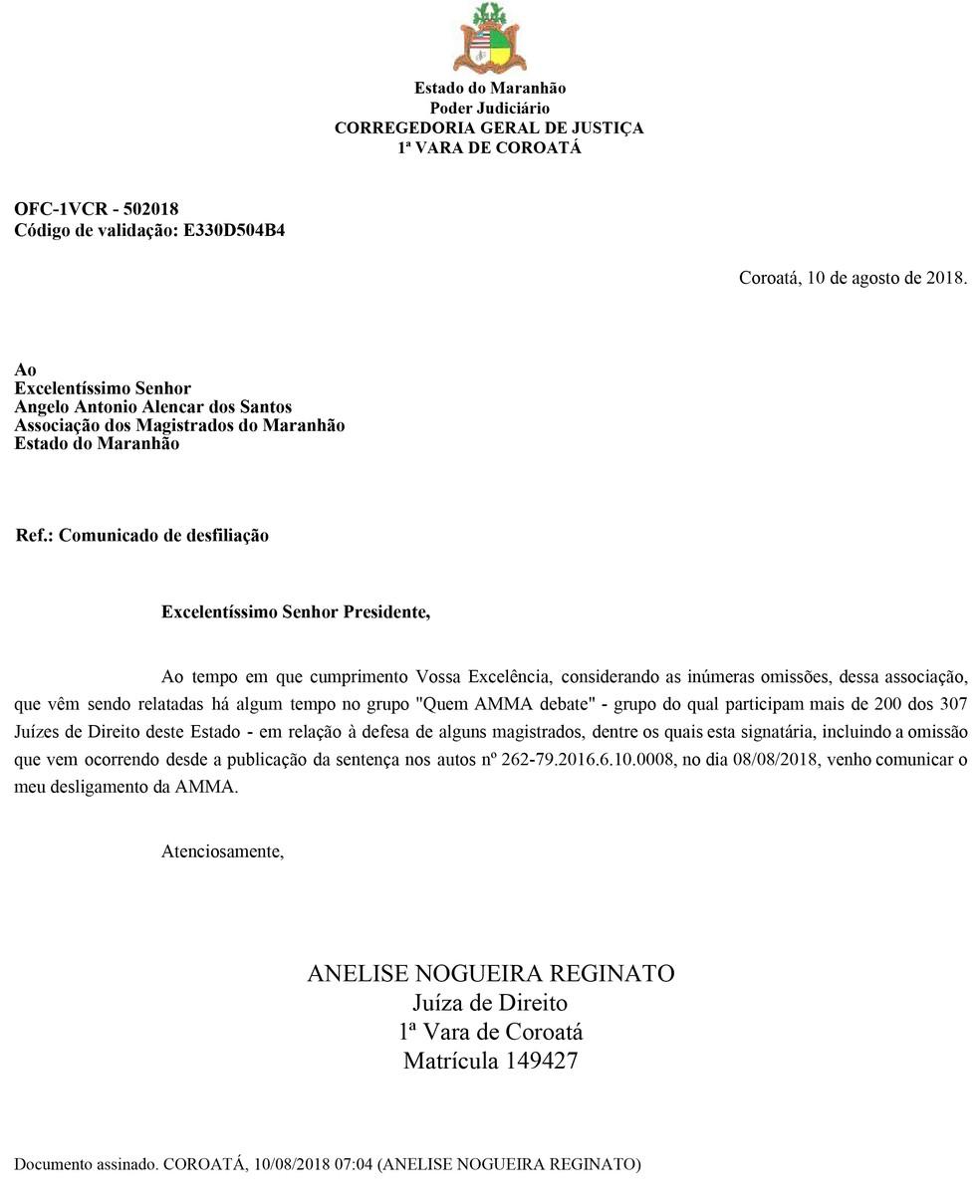 Juíza Anelise Nogueira Reginato comunica por meio de nota seu desligamento da AMMA (Foto: Divulgação/Corregedoria Geral de Justiça)
