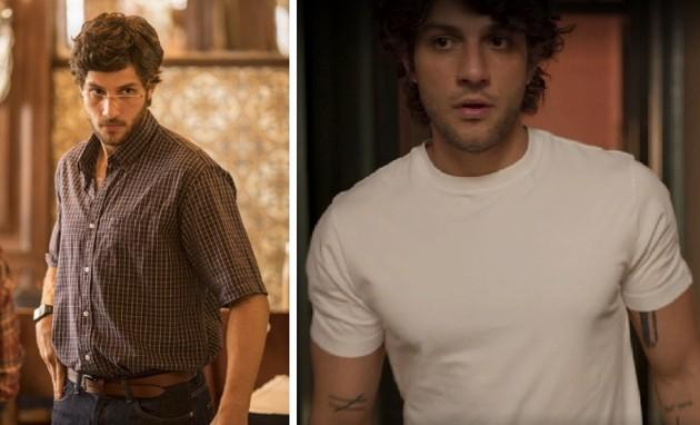 Chay Suede como Danilo na primeira temporada de 'Amor de mãe'; à direita, o ator como Danilo na nova fase (Foto: Reprodução)
