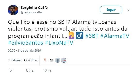 Usuário do se choca exibição do 'Alarma TV' pela manhã (Foto: Reprodução / Twitter)