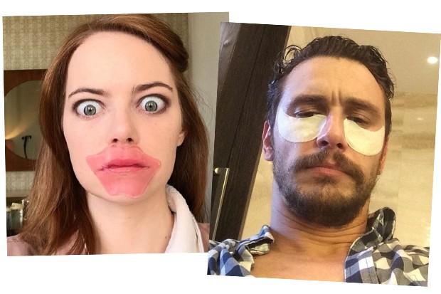 Emma Stone e James Franco são adeptos às máscaras descartáveis (Foto: Reprodução / Instagram)
