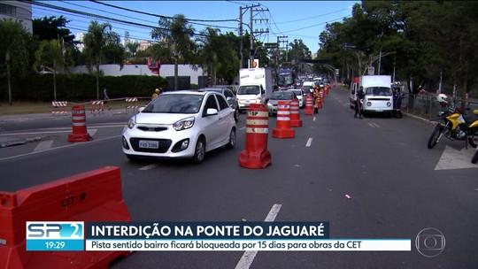 Interdição na Ponte do Jaguaré provoca trânsito neste sábado (10)