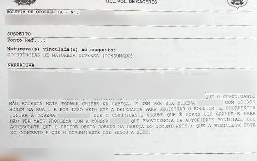 Marido, de 50 anos, disse não aguentava mais 'tomar chifre' da mulher e registrou boletim de ocorrência em Cáceres (Foto: Divulgação)