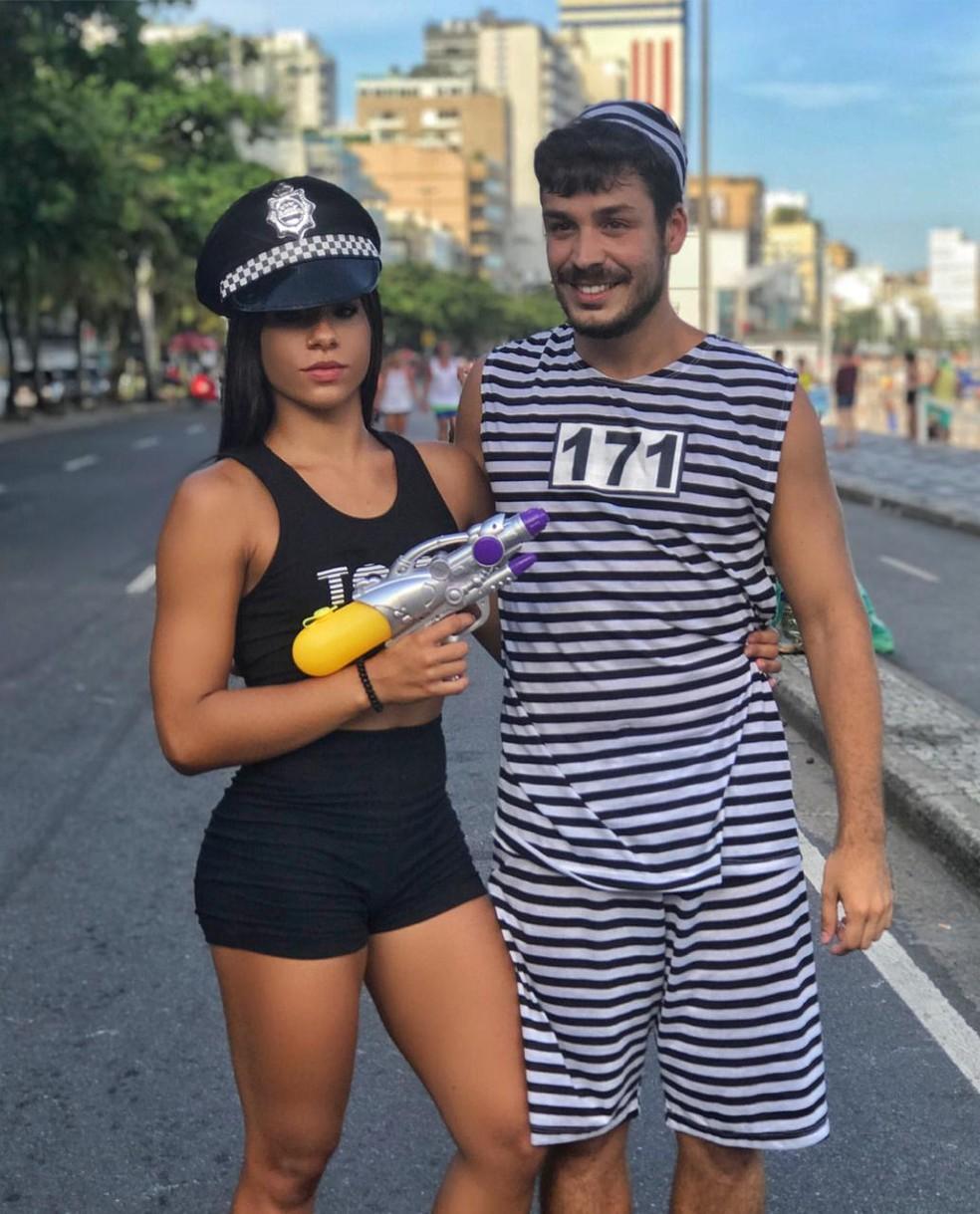 Ingrid Oliveira, atleta olímpica dos saltos ornamentais, com o namorado, no Carnaval de 2018 — Foto: Acervo pessoal