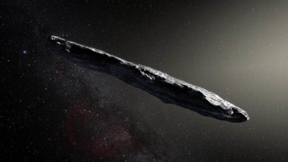 Impressão artística do Oumuamua — Foto: ESO/M. Kornmesser