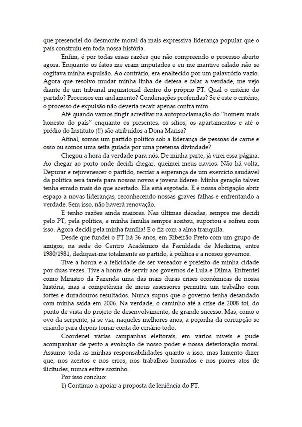 Carta Palocci 3 — Foto: Reprodução