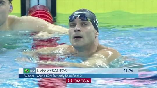 Nicholas Santos vai à final com melhor tempo; Etiene Medeiros erra e dá adeus ao sonho do tri