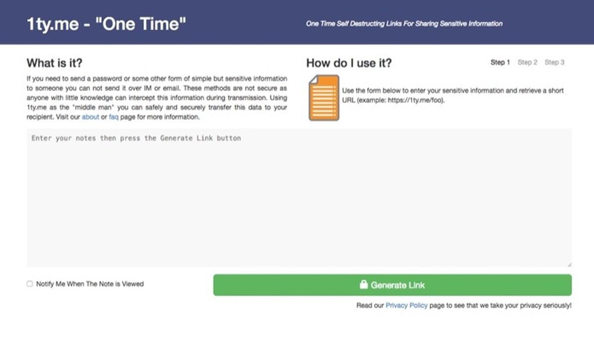 Site 1Ty envia mensagens 'secretas' que se autodestroem; veja como usar