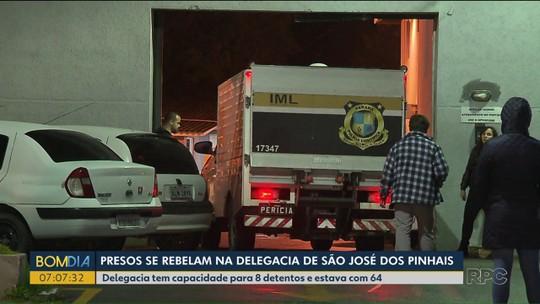 Presos fazem rebelião na Delegacia de São José dos Pinhais, e detento morre
