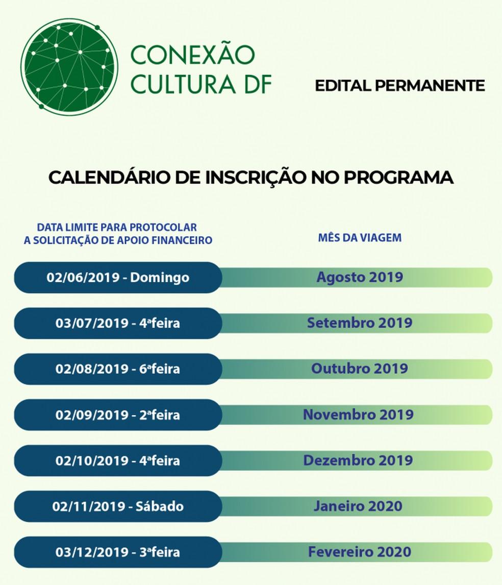 Cronograma do programa do Conexão Cultura, do GDF, até fevereiro de 2020 — Foto: GDF/Divulgação