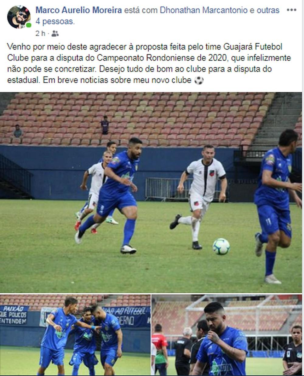 Marco Aurélio relembrou momentos pelo Nacional-AM para comunicar saída do Guajará (Foto: facebook Maro Aurélo)