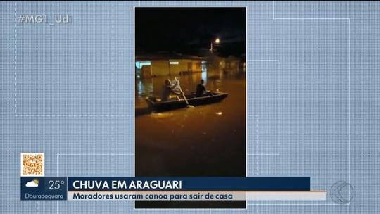 Moradores de bairro em Araguari relatam sobre rua que sempre alaga durante chuva