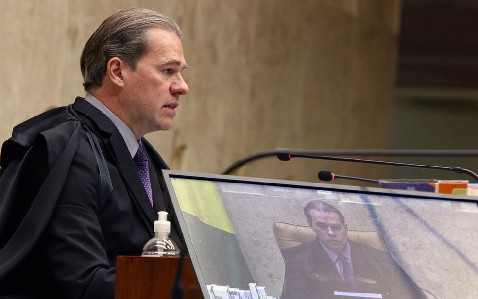 O presidente do STF, Dias Toffoli, durante sessão nesta quarta (6) — Foto:  Nelson Jr./SCO/STF