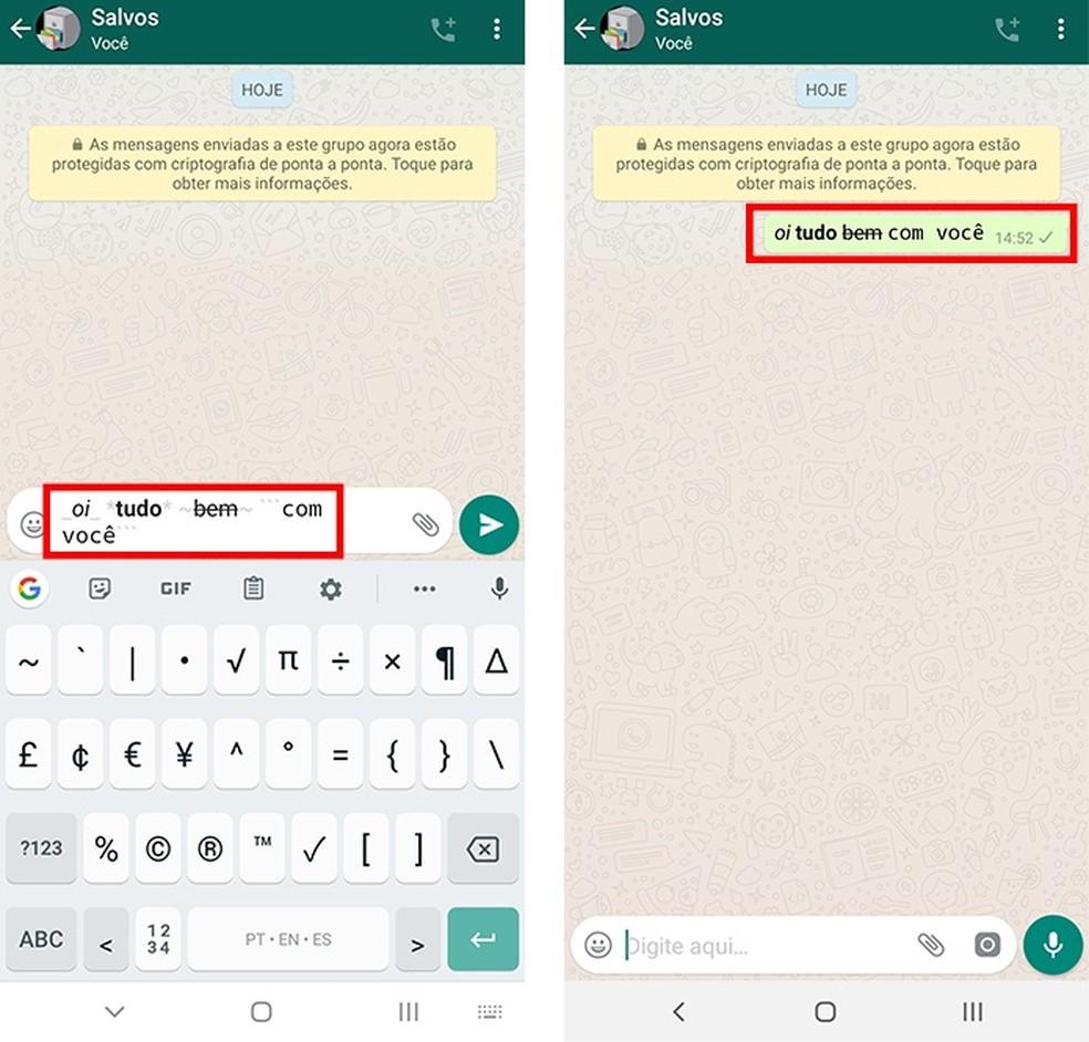Use truques de texto para escrever em itálico, negrito, tachado ou com fonte monoespaçada — Foto: Reprodução/Paulo Alves