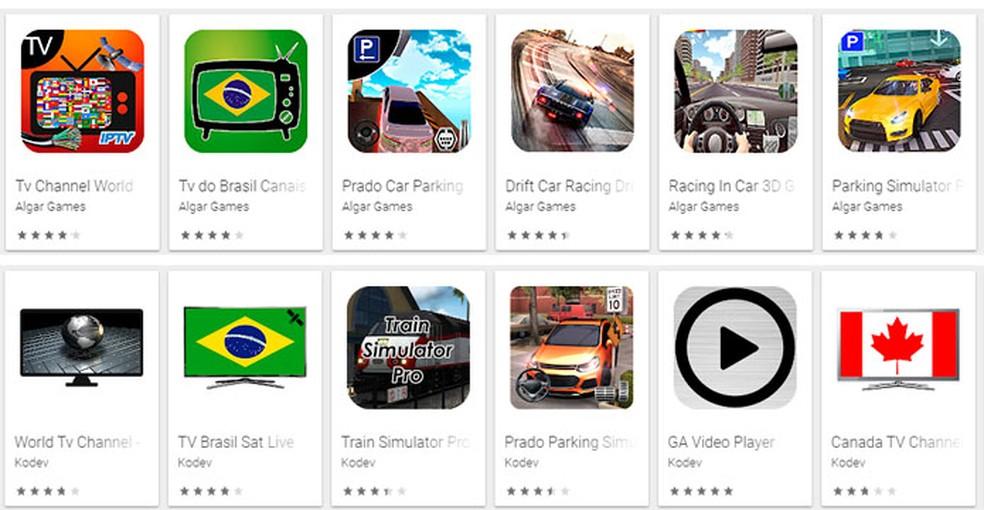 Alguns dos 85 aplicativos falsos encontrados na Play Store — Foto:  Reprodução/Trend Micro