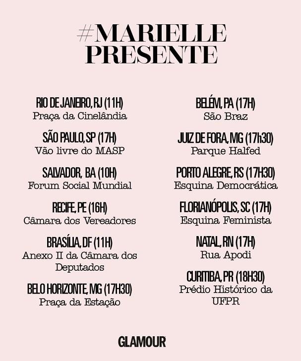 Agenda de manifestações contra a morte de Marielle Franco (Foto: Glamour)