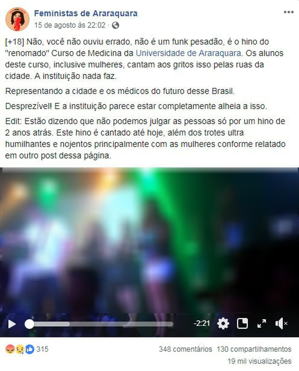 Grupo feminista postou vídeo de 2013 onde hino é cantado por estudantes de medicina em Araraquara (Foto: Reprodução/Facebook)