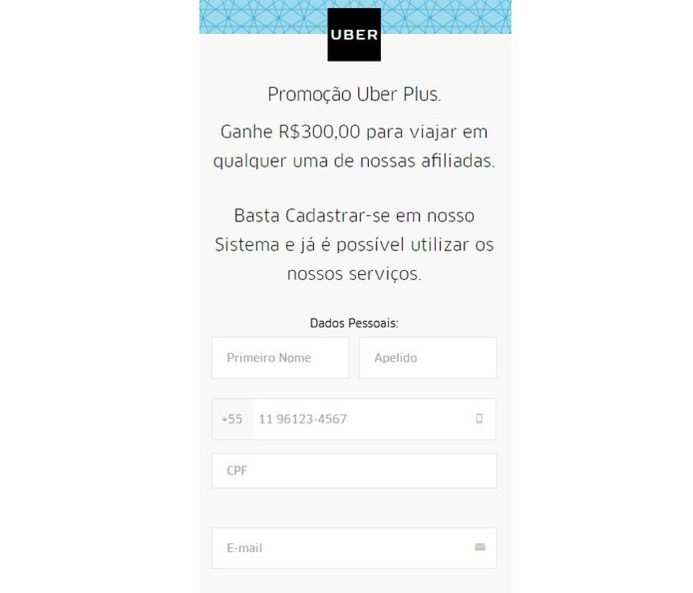 PSafe detectou golpe que usa nome do Uber em páginas e perfis falsos — Foto: Divulgação/PSafe