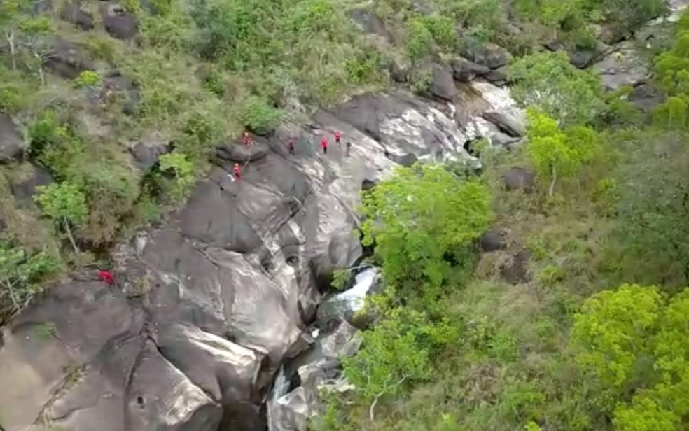Bombeiros realizam buscas por turista que desapareceu na Chapada dos Veadeiros — Foto: Corpo de Bombeiros/Divulgação