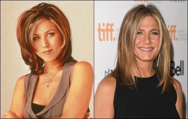 A Rachel Green de 'Friends' (1994–2004) hoje é uma senhora de 45 anos — porém com o mesmo rostinho jovial. Na segunda temporada da clássica sitcom, Jennifer Aniston estava com 26 anos. (Foto: Getty Images)