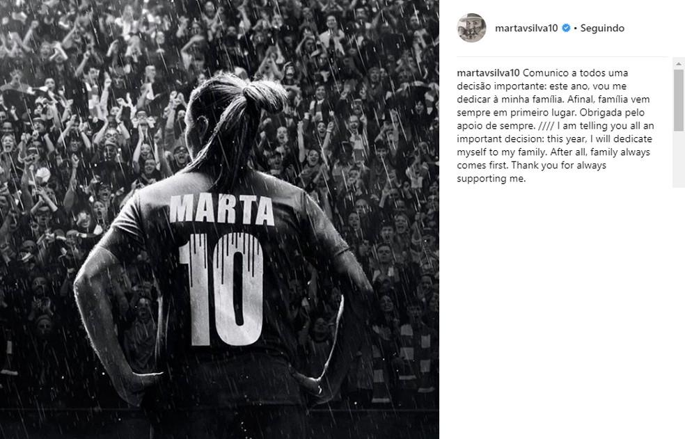 Post de Marta na rede social — Foto: Instagram