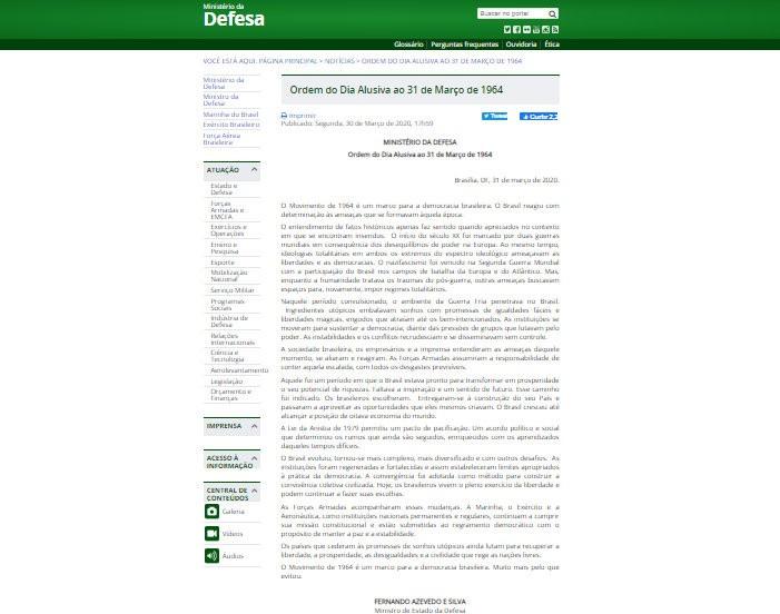 Justiça Federal do RN manda Ministério da Defesa excluir do site nota que exalta golpe de 1964