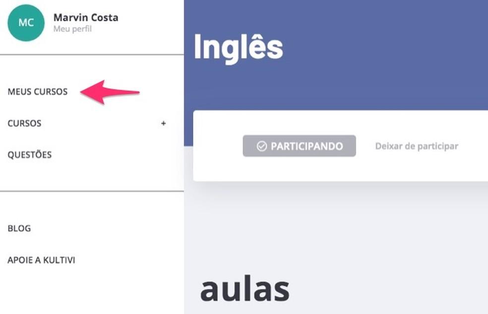 Ação para visualizar matrículas em cursos em um perfil de usuário no site Kultivi — Foto: Reprodução/Marvin Costa