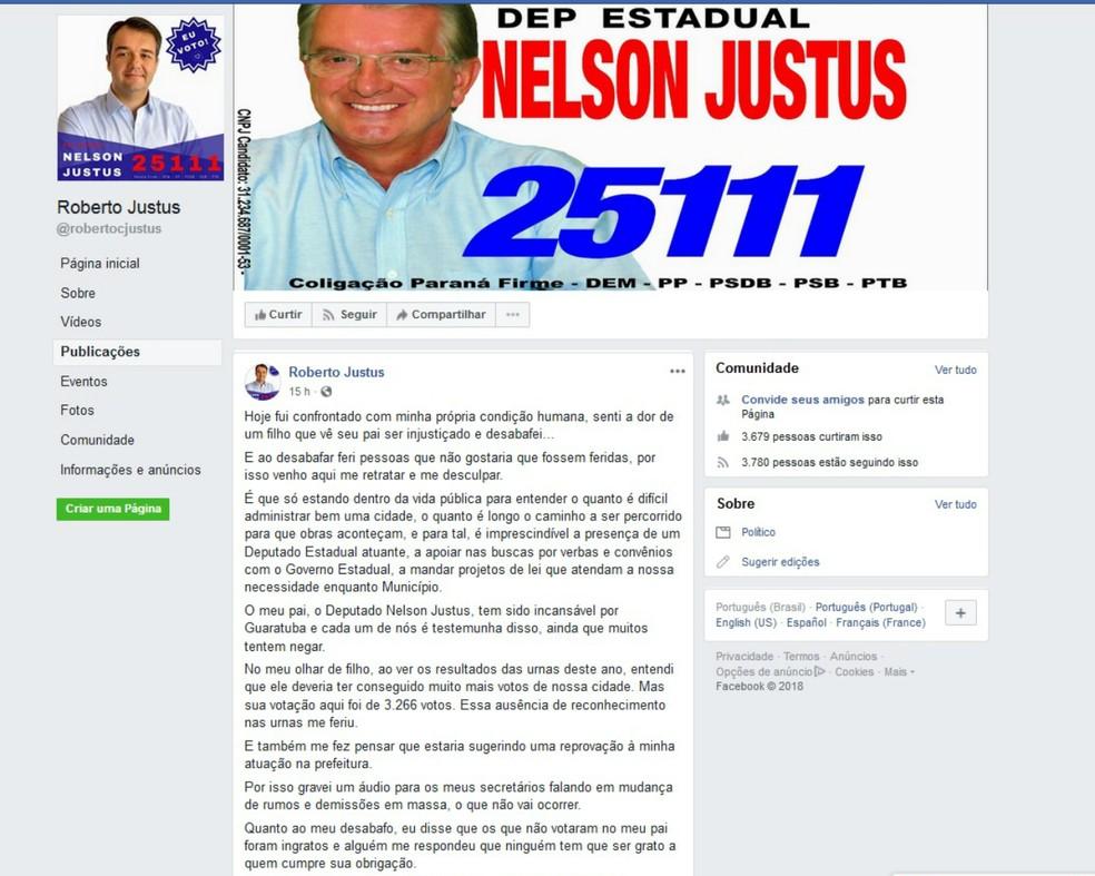 Prefeito de Guaratuba fez uma publicação no Facebook comentando o caso — Foto: Reprodução/Facebook
