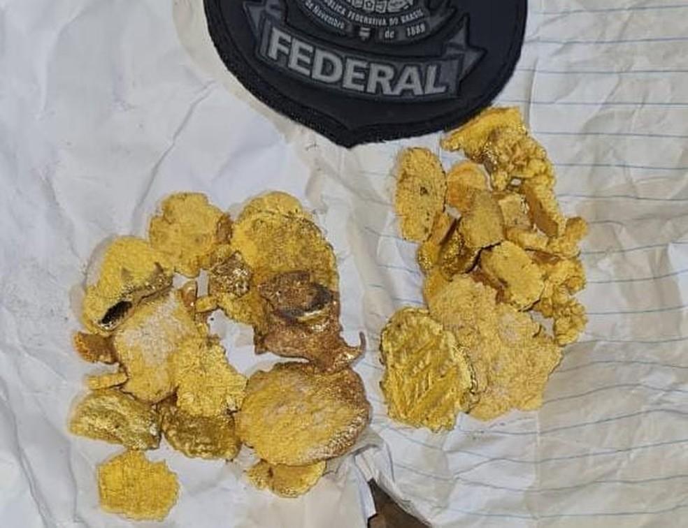 Polícia Federal apreendeu cerca d 260 gramas de material semelhante a ouro em operação no interior do AM — Foto: Divulgação