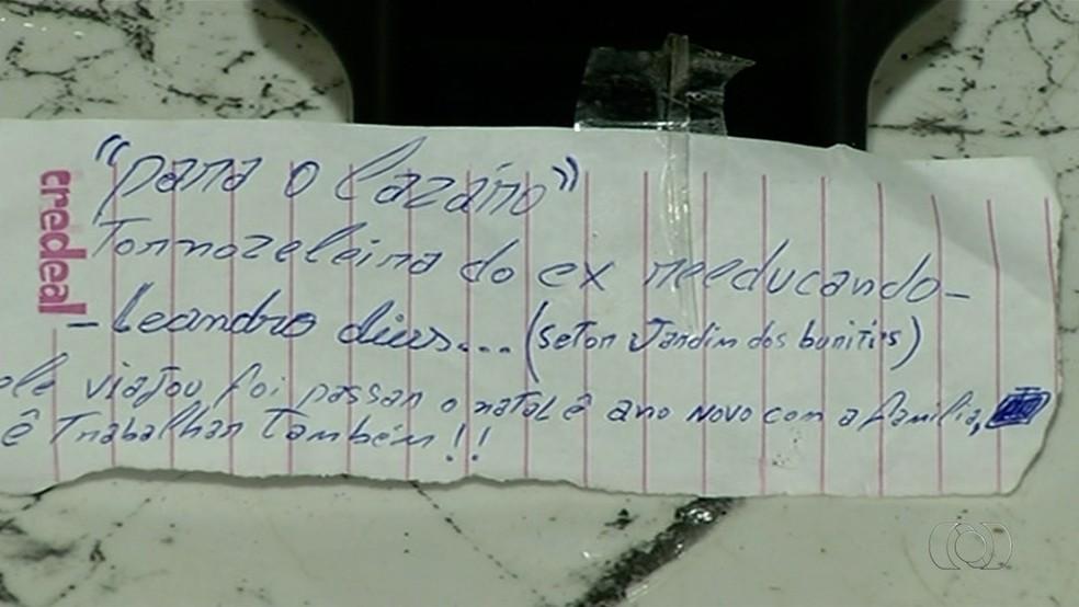 Bilhete diz que preso foi passar o Natal e o Ano Novo com a família (Foto: Reprodução/TV Anhanguera)